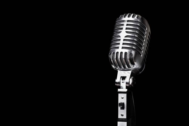 Retro style microphone on  background