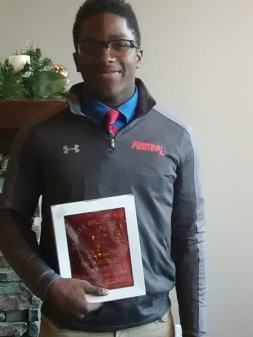 Mike winning DL football award